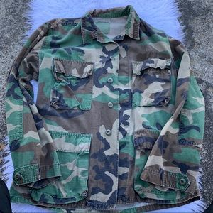 Camouflage military button down jacket